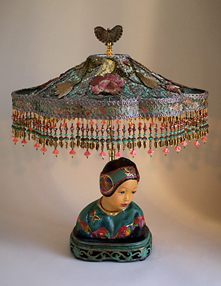 Esther Hunt Chinoiserie Lamp with Victorian Lampshade