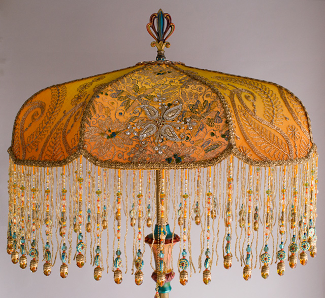 Bohemian Victorian Lampshade with Antique Indian Textiles