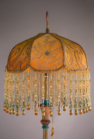 Victorian Lampshade with Antique Indian Textiles