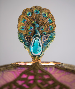 Detail of Antique Peacock Lamp Finail