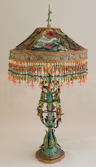 Victorian Lampshade with Chinoiserie Embroidery