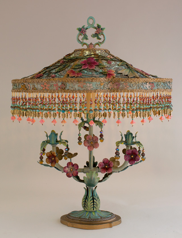 Detail of Victorian Lampshade with Chinoiserie Embroidery