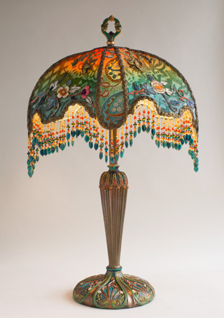Velvet Half Moon Victorian Table Lamp with Beads by Nightshades