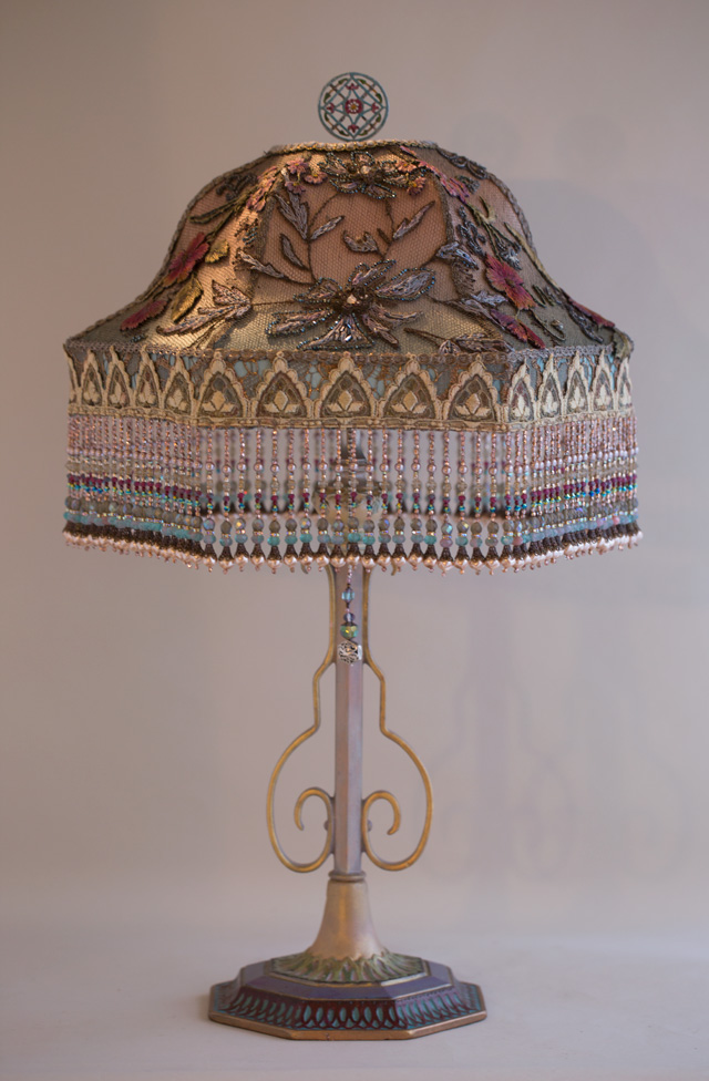 Gothic Bell Victorian Table Lamp with Beads by Nightshades