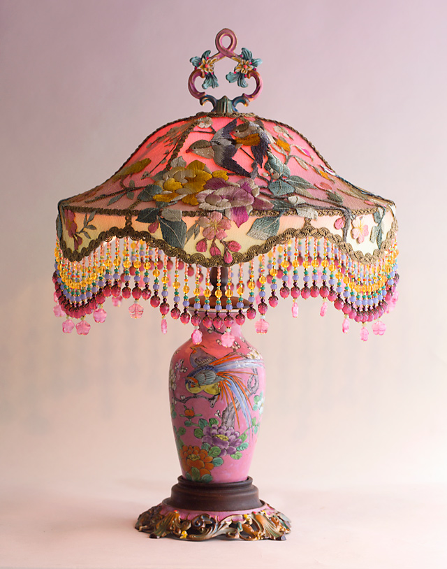 Pink Chinoiserie Embroidered Victorian Table Lamp with Beads by Nightshades