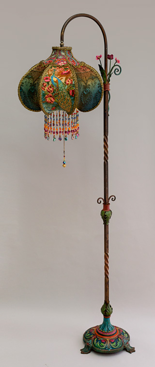 Art Nouveau Peacock Victorian Bridge Lamp and Shade