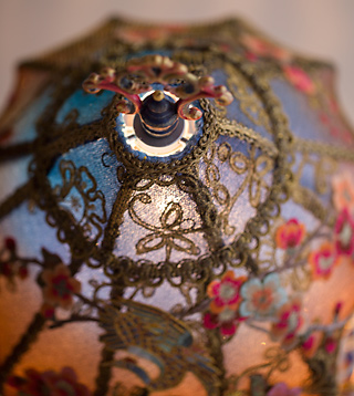 Blue Cherry Blossoms Victorian Lampshade