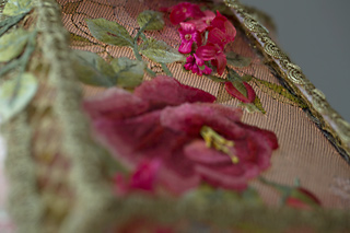 Detail of Victorian Lampshade with Rose Embroidery