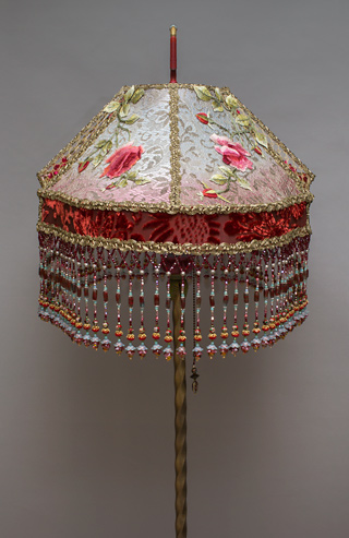 Side view of Victorian Lampshade with Rose Embroidery