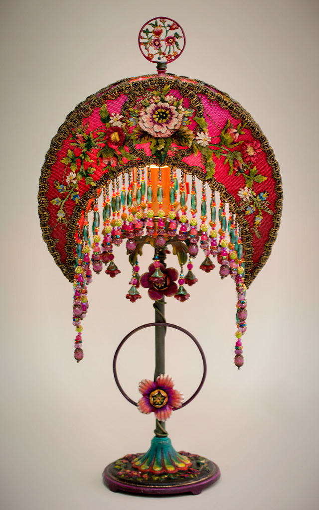 Lit Fuschia and Pink Crescent Moon Victorian Lamp and Beaded Shade