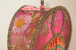 Detail of Crescent Moon Victorian Lamp and Beaded Shade