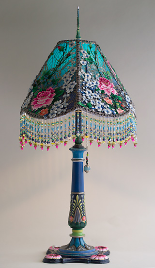 Blue and white l Victorian Lampshade with beads and antique fabrics
