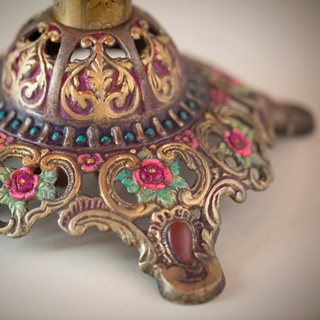 Byzantine Jewel Victorian Lampshade with beads and antique fabrics