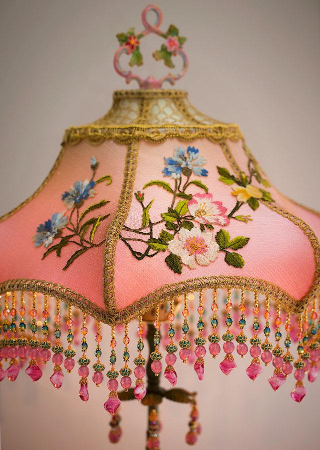 Detail of Pair of Japanese Tea Garden Victorian Lampshades