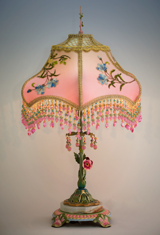 Side view of Pair of Japanese Tea Garden Victorian Lampshades