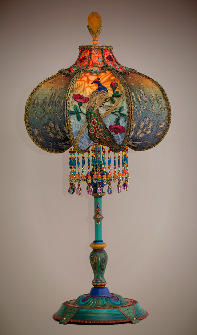 Peacock Victorian Lamp and Shade