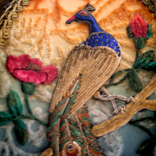 Detail of Peacock Victorian Lamp and Shade