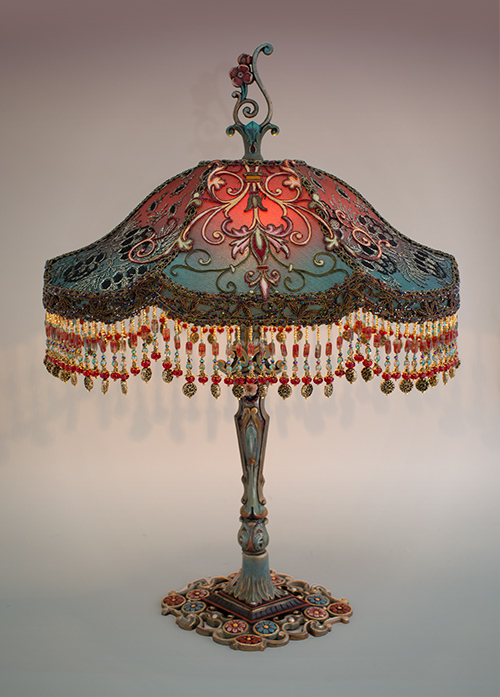 Spanish Gothic style Victorian lampshade with antique textiles