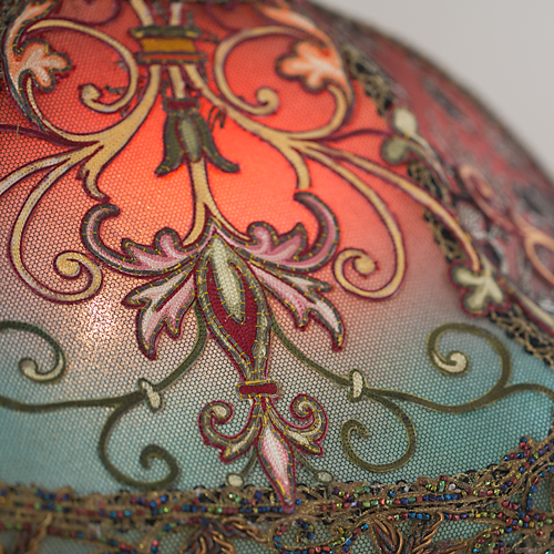 Spanish Gothic style Victorian lampshade with antique textiles - Detail
