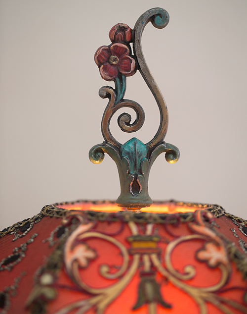 Spanish Gothic style Victorian lampshade with antique textiles finial