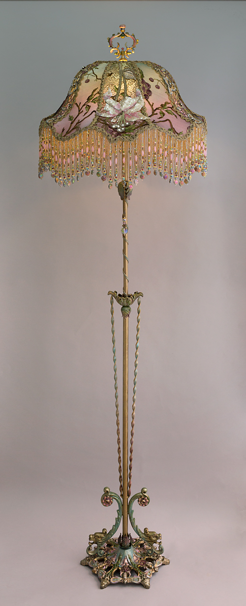 Lily & Dragonfly Beaded Antique Victorian Lampshade from Nightshades