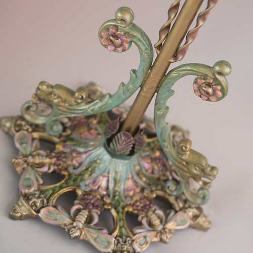 Lily & Dragonfly Beaded Antique Victorian Lampshade from Nightshades base detail