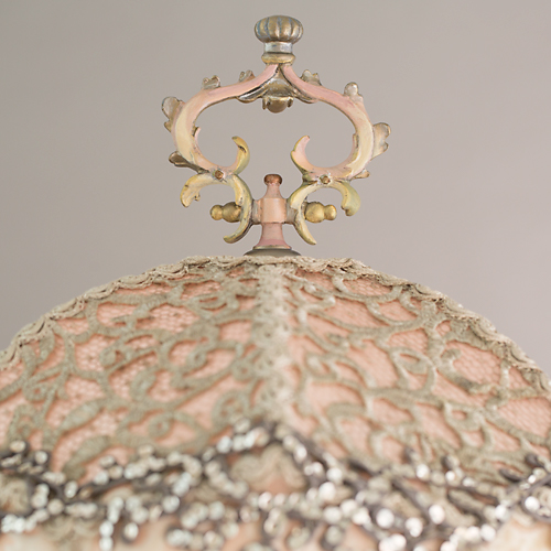 Coronation Wedding Cake Victorian Lampshade with beads and antique textiles finial