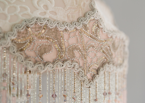 Coronation Wedding Cake Victorian Lampshade with beads and antique textiles detail