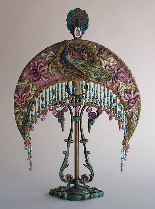 Peacock Moon Victorian Lampshade by Nightshades