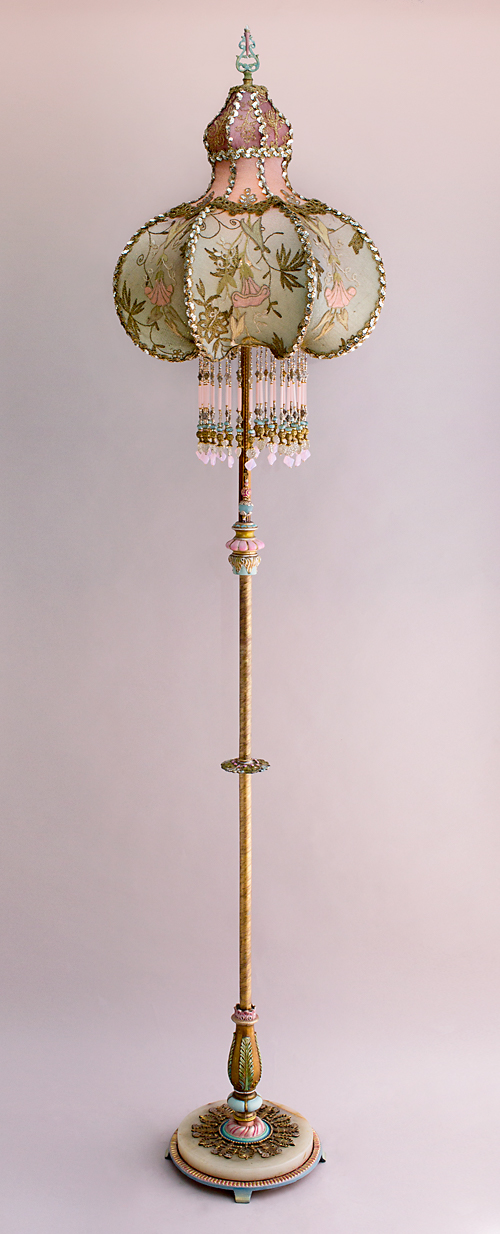 Turkish style Victorian lampshade with beads and antique textiles