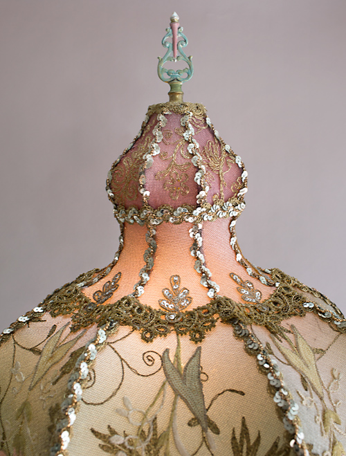 Turkish style Victorian lampshade with beads and antique textiles detail