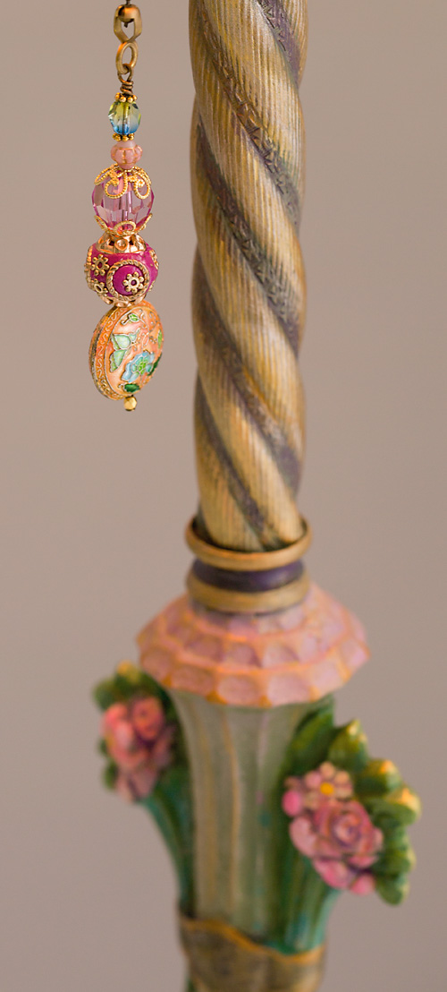 Detail of 3 Pairs of French Lovebirds Antique Turban Floor Lamp