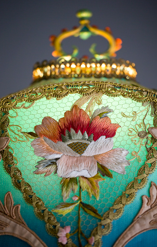 Detail of Lyonnais Art Nouveau Silk Antique Victorian Floor Lamp and Shade