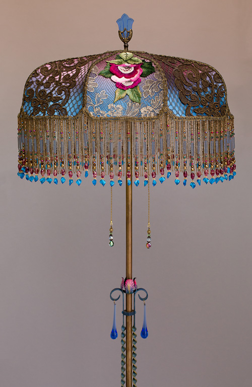 Blue Jewel WIld Rose Victorian Lampshade
