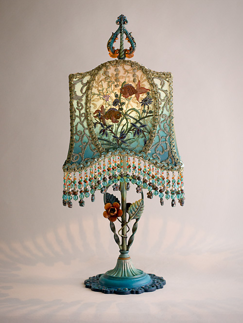 Victorian Goldfish Bowl Table Lamp wit Tole Base