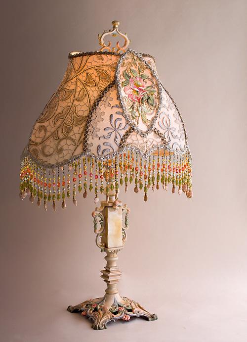 Edwardian Wild Rose Beaded Table Lamp