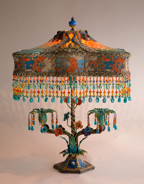 Double Peacock Flower Lamp with antique fabrics