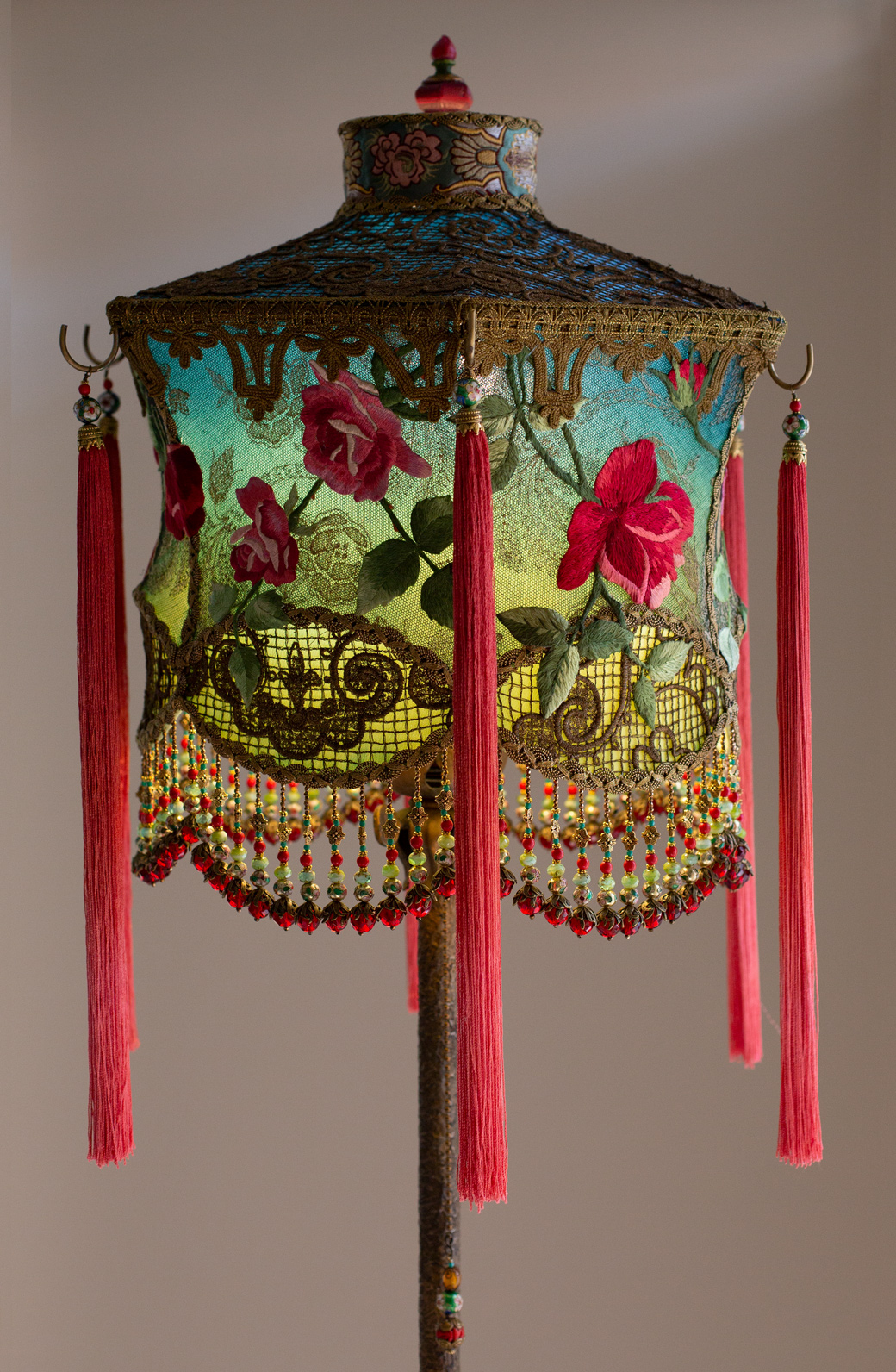 Hong Kong Lantern with Red Roses  by Christine Kilger Nightshades