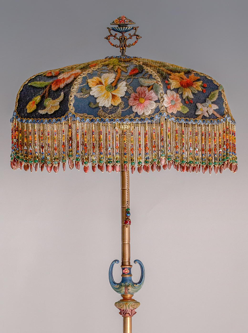Red Roses and Peacock Victorian Lampshade by Nightshades