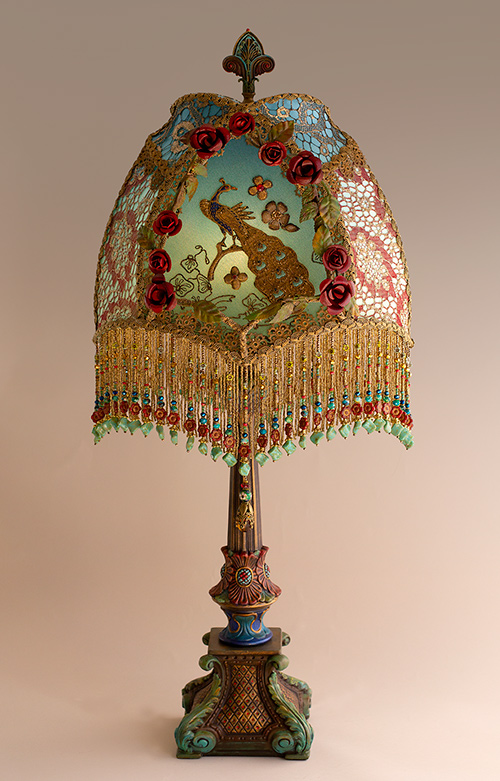 Red Roses and Peacock Victorian Lampshade
