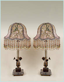 Pair of vintage lace lamps