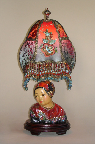 Esther Hunt Lamp with Beaded Lampshade