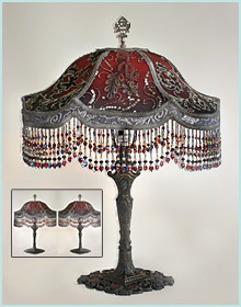 Antique lamp with beaded shade