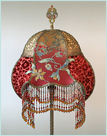 Art Nouveau Lampshade with Silk Ribbon Flowers
