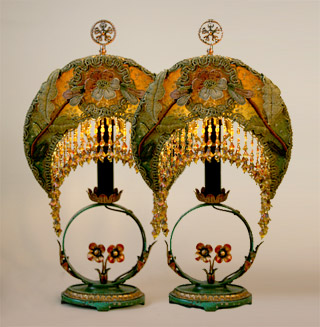 Arts & Crafts style mantle lamps