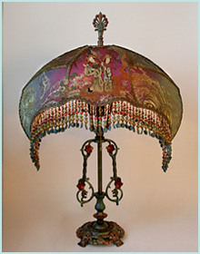 Large antique floor lamp with victorian lampshade