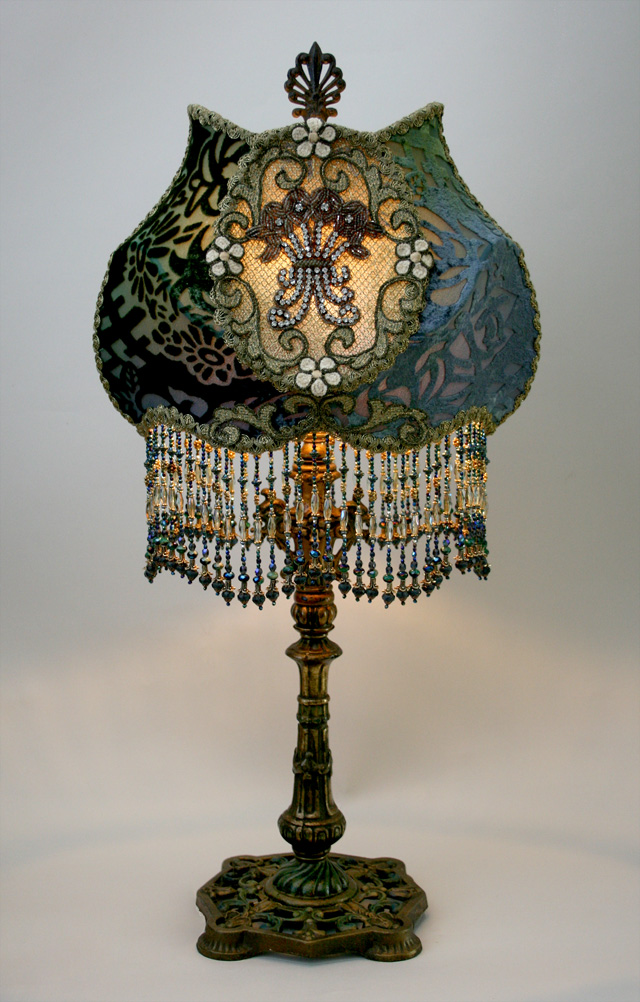 Cameo Victorian Lampshade with Rhinestones