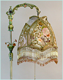 Antique Bridge Lamp with French Textiles