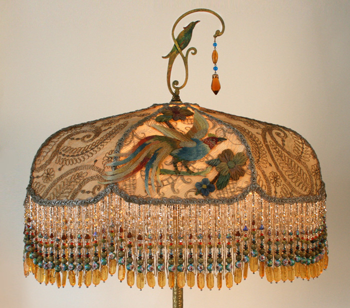 victorian lampshade with iris appliques