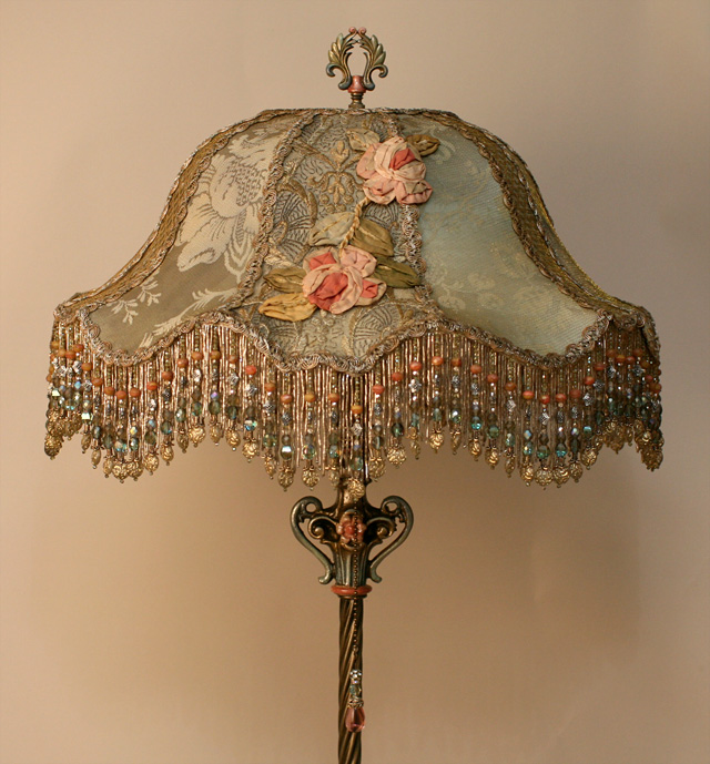Chateau Victorian Lampshade with Antique Silk Ribbon Roses